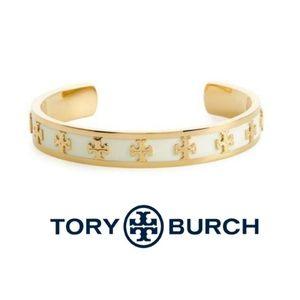 ■Tory Burch■ White Enamel Logo Cuff